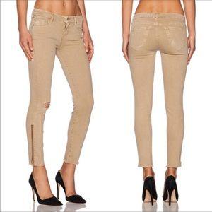 Mother denim the looker zip fray tan jeans